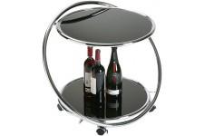 Table d'Appoint Table roulante VM noire en verre Cristallo, deco design