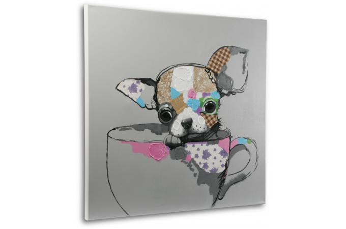 tableau d 39 un petit chien peint la main tableau animaux pas cher. Black Bedroom Furniture Sets. Home Design Ideas