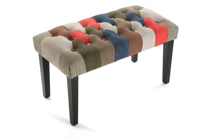 banc patchwork 43 x 40 x 80 cm petit tabouret pas cher. Black Bedroom Furniture Sets. Home Design Ideas