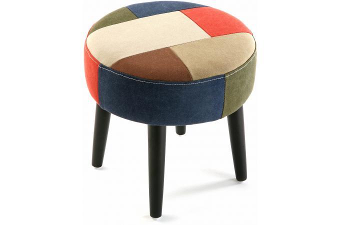 tabouret rond en patchwork petit tabouret pas cher. Black Bedroom Furniture Sets. Home Design Ideas